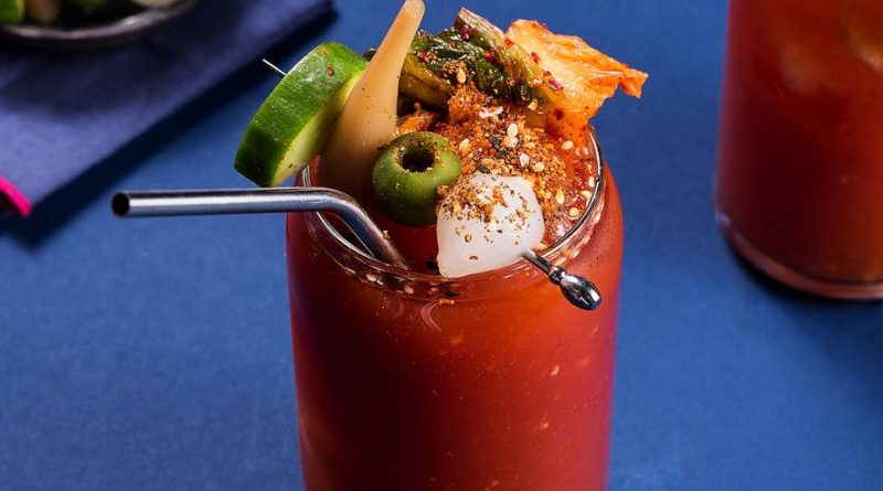 """Bloody mary with many toppings"">"