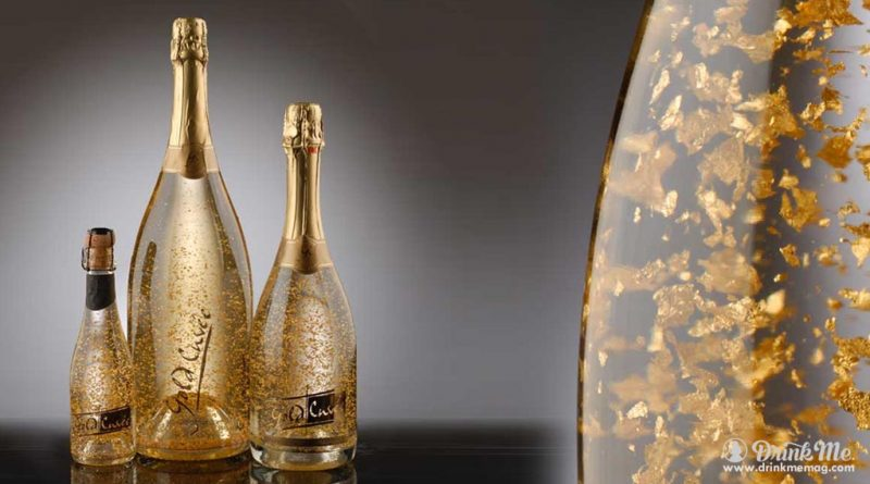 4 alcoholic drinks with edible gold 1