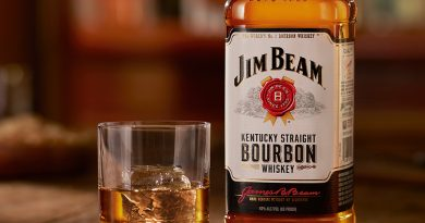 """Jim Beam Bourbon bottle with a glass of whisky"">"