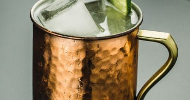 """moscow mule topped with ice and lime"">"