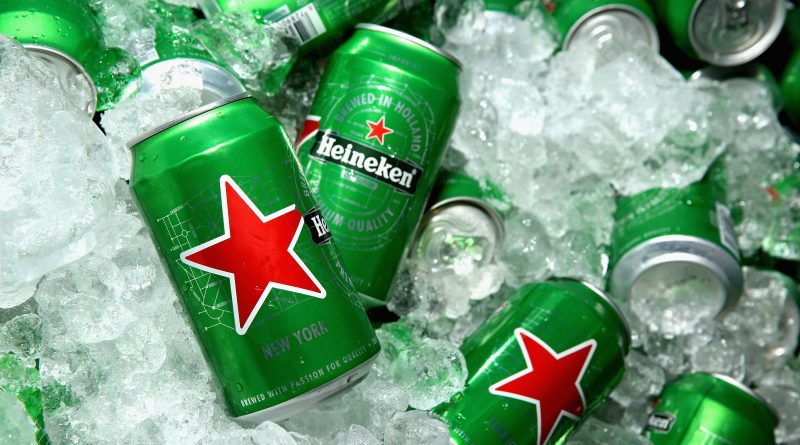 """Heineken beer cans filled with ice"">"