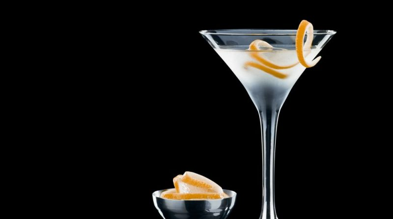 """Vesper cocktail with lemon zest at the back"">"