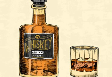 """""""Vintage Whiskey bottle with label and a glass filled with whiskey and topped with ice"""">"""