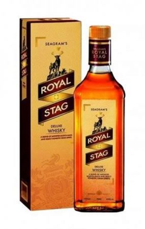 'Seagram's royal stag whisky bottle with its cardboard box'>