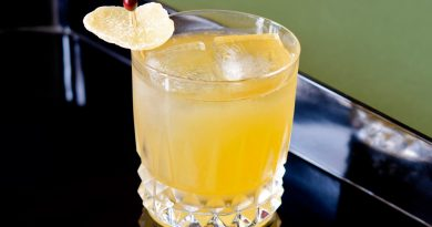 'Penicillin cocktail with crisp lemon and ice.'>