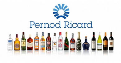 Pernod Ricard grew 1% in nine-months , down from 19% 4