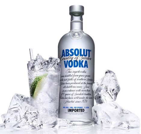 """""""Absolut vodka with ice."""">"""