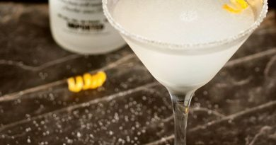 """Lemon drop martini cocktail with lemon zest."">"